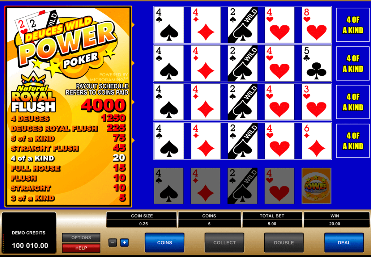 deuces wild  play power poker microgaming
