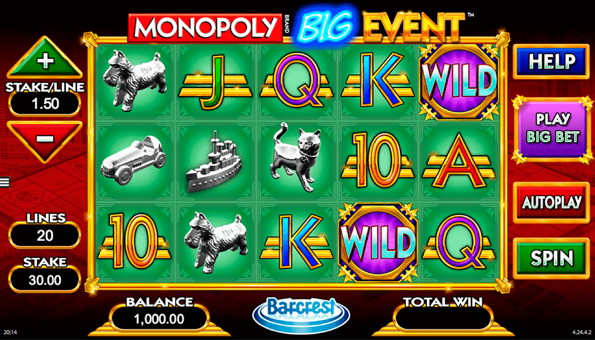 monopoly big event wms gokkast