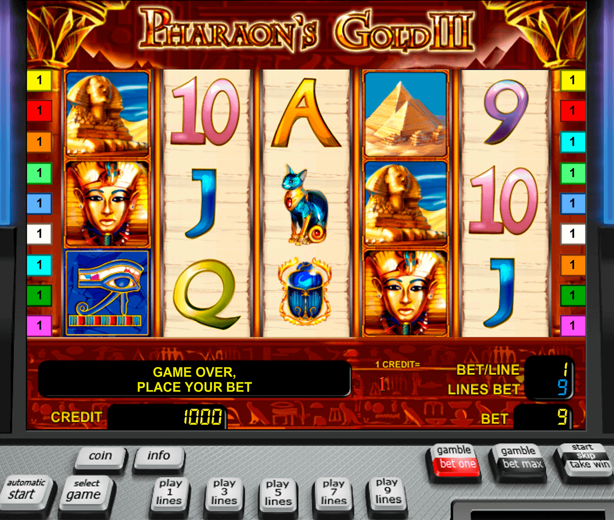 pharaohs gold iii novomatic gokkast