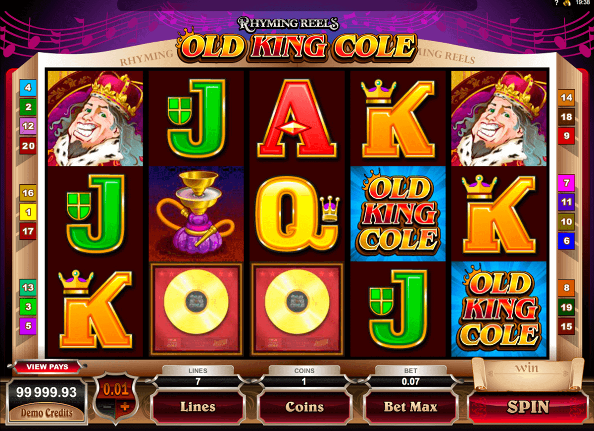 rhyming reels old king cole microgaming gokkast