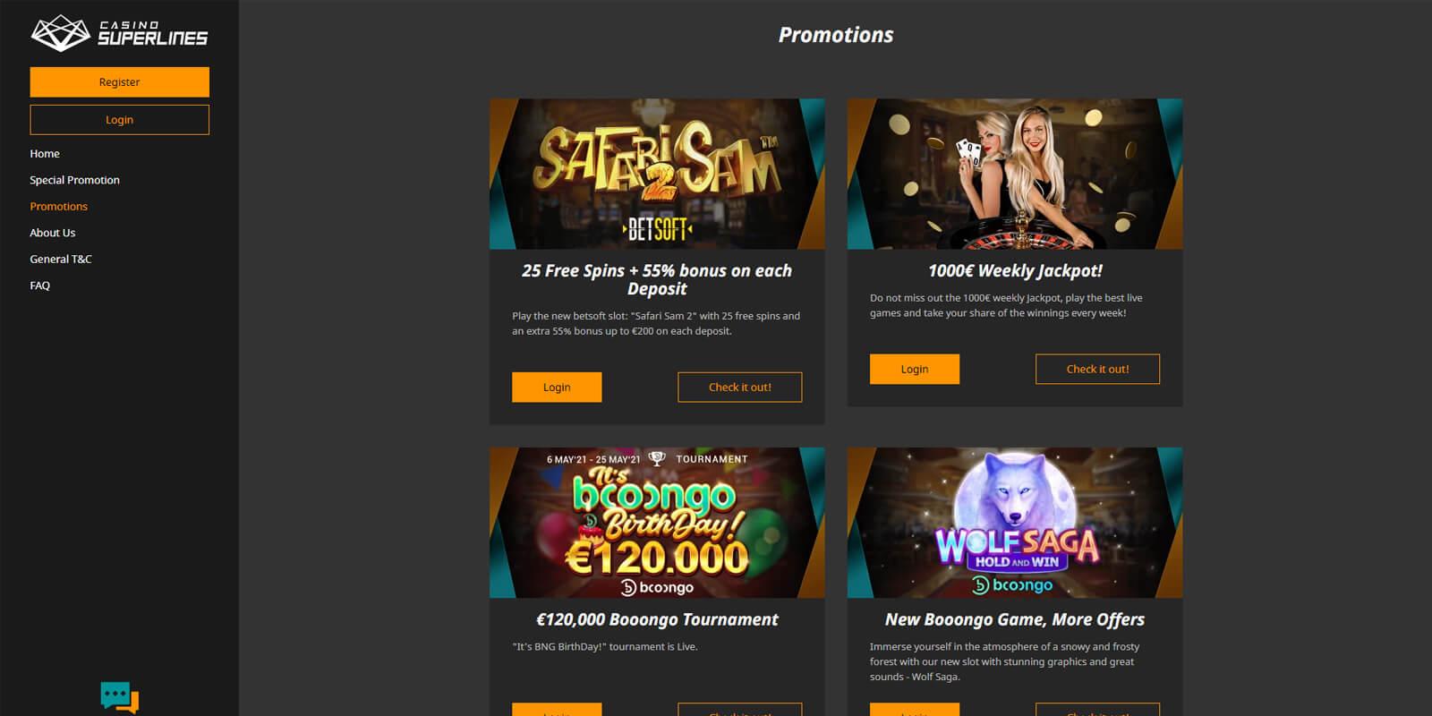 Superlines casino aanbiedingen