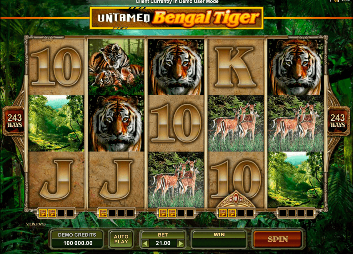 untamed bengal tiger microgaming gokkast